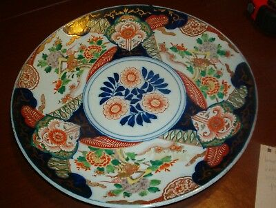 Imari Over 75  Yr.old Porcelain Platter-Dish-Brought To Usa  In 1945 From-Japan
