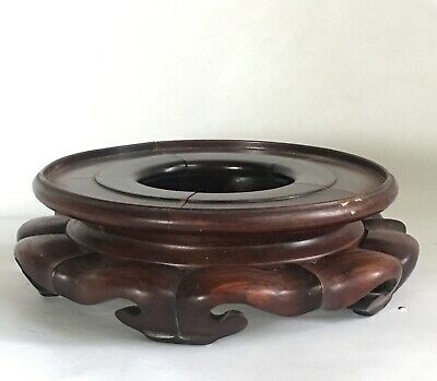 Vintage Antique Chinese Carved Wood Round Display Table Stand