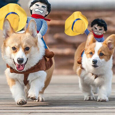 Pet Dog Clothes Cowboy Rider Style Suit For Party Halloween Festival Decoration