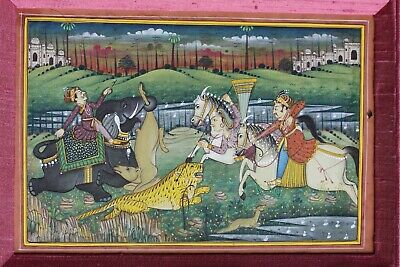 Fine Indian miniature painting of a tiger hunt elaborately framed
