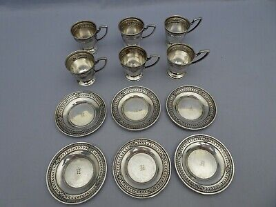 1920s Set of 6 Watson Demitasse Cups & Saucers Sterling Silver Marked w/o insert