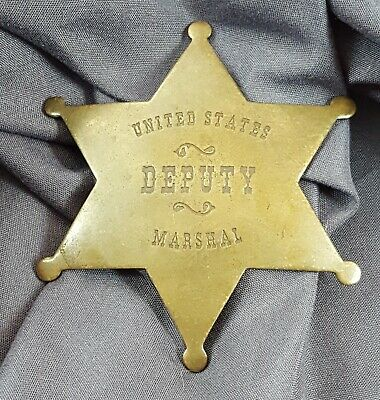 Old West United States Deputy Marshal Badge Antique Brass Pin Replica Prop
