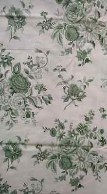 VINTAGE Horrockses Off White-Green Floral Flat Double Bed Sheet Cotton Blend VGC