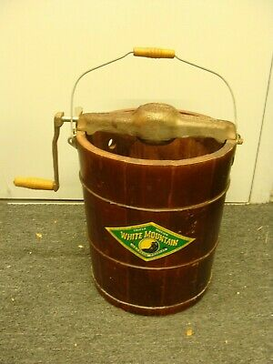 White Mountain Freezer Bucket & hand crank - READ AND SEE ALL