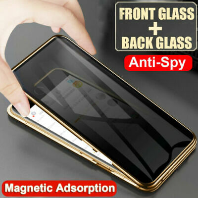 Anti-Spy 360° Double-Side Magnetic Tempered Glass Case Cover For iPhone X XS 7 8