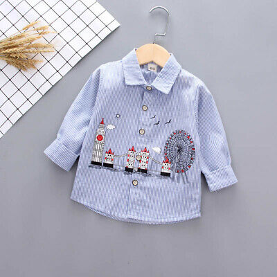 Infant Baby Boys Clothes Clothing Toddler Kids Boys Long Sleeve Stripe Shirt