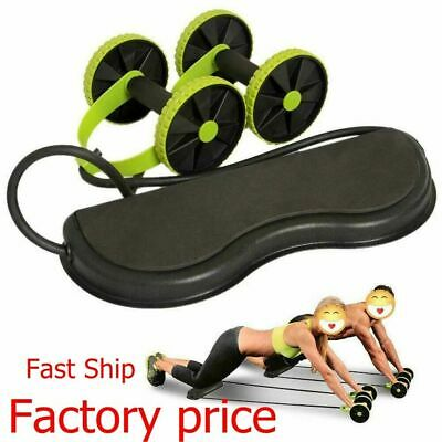 Abdominal Power Roll Trainer Waist Slimming Exercisers Double Core Wheel Fi U5D0