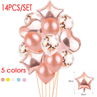 14pcs/set Wedding Supply Rose Gold Balloon Confetti Foil Happy Party Decorations