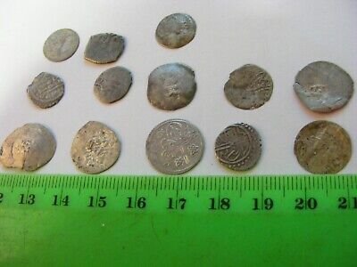 Lot of 13 ANTIQUE Ottoman/Muslim Silver  Coins ,no holes,Small size