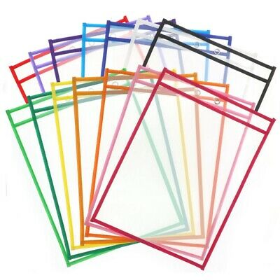 Reusable Dry Erase Pocket Sleeves with Marker Holder- Assorted Colors,AdultZ8W3