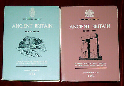 2 Ordnance Survey 1:625000 Paper Maps Of Ancient Britain - North & South - 1964