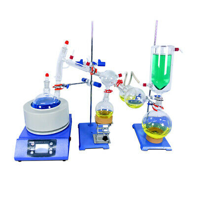 Lab Short Path Distillation Kits 2L Glassware Distiller Heating Mantle