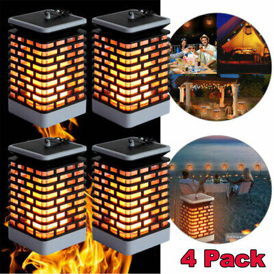 1/2/4Pcs Solar Dancing Flame 99 LED Torch Stake Flickering Outdoor Garden Lights