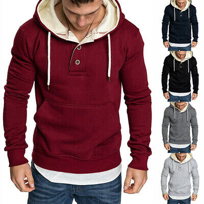 Men Pullover Hooded Coat Fleece Hoodie Sweatshirt Tops Soft Autumn Spring Winter