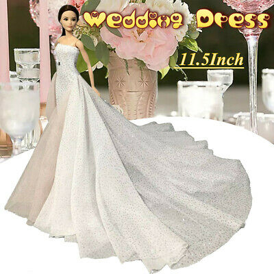 White High Fashion Wedding Dress For 1/6 Doll Clothes Party Gown For 11.5in Doll