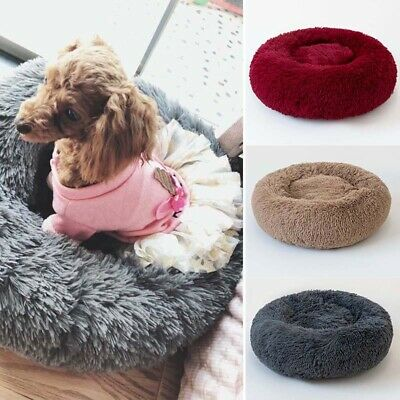 Soft Pet Dog Cat Calming Bed Round Nest Warm Soft Plush Comfortable Sleeping Acc