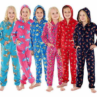 Kids Soft Fleece Hooded Zip Up All In One Girls Boys Printed Pyjamas Nightwear
