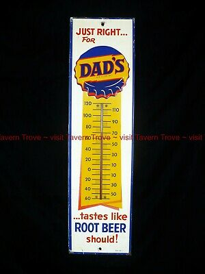 """Tough Large 1960s DAD'S ROOT BEER """"Just Right"""" 27¼ x 7¼ inch tin thermometer"""