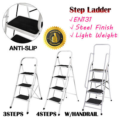 3 4 steps Heavy Duty Foldable Step Ladder Home Kitchen Strong Metal Ladder EN131