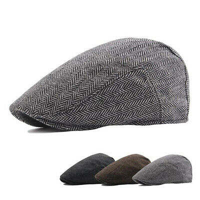 Solid Cotton Cap Mens Ivy Hat Golf Driving Summer Sun Flat Cabbie NewsboyHGUK