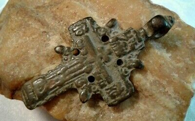 "RARE ANTIQUE c.18th CENT. LARGE COPPER-IRON ""OLD BELIEVERS"" ORTHODOX ""SUN"" CROSS"