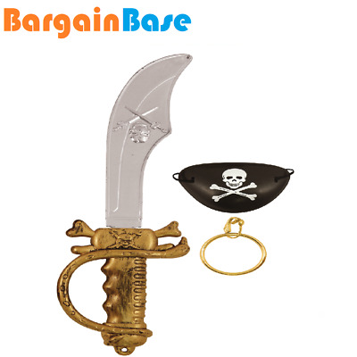 Pirate Costume Set Sword Cutlass Flintlock Eyepatch Fancy Dress Accessory Kids