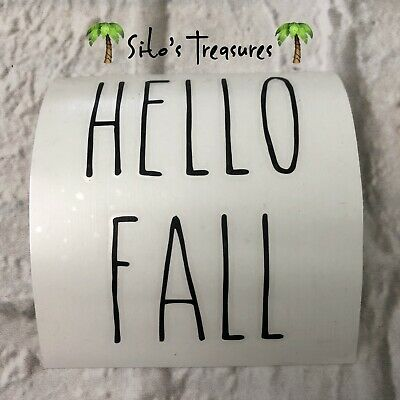 "Rae Dunn Inspired Vinyl Decals Hello Fall Farmhouse 3.5"" Tall"