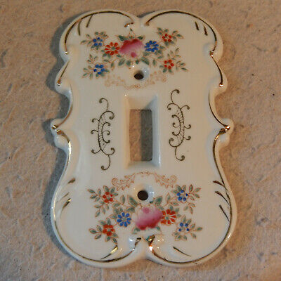 Vintage Hand Painted Porcelain Light Switch Cover Plate Rose Gold Scroll Flowers