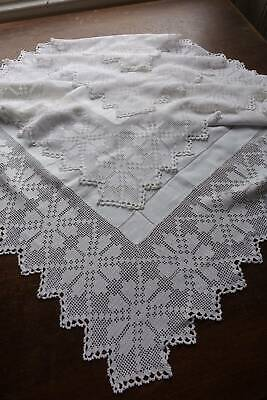 Antique large white Irish linen tablecloth - hand embroidery & crochet lace 46""