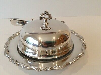 Silver Covered Butter Dish with Glass insert
