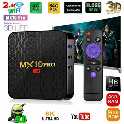 Android 9.0 MX10PRO 4+64G Oreo 6K Media Player Quad Core Smart TV BOX WIFI HDMI