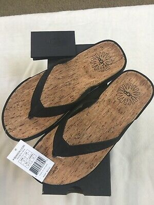 9dc54ac1802 UGG BENNISON II Leather Cork Men's Flip Flops Thongs Luggage Brown ...