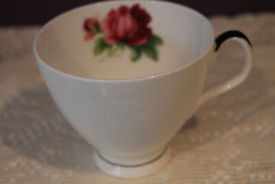 Royal Albert Tea Cup Only White Trimmed With Black And Pink Rose Like Senorita