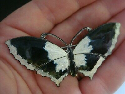 Large Art Deco Silver & Black & White Guilloche Enamel Butterfly Brooch Pin