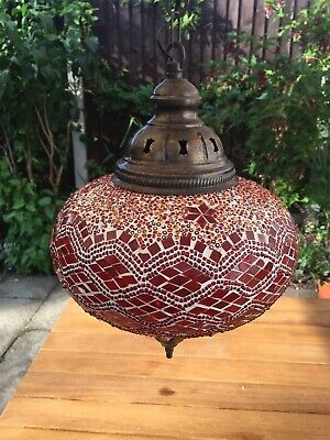 Attractive Red Turkish Moroccan Ceiling Light With Brass/Copper Fittings