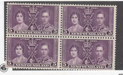 NEWFOUNDLAND (MK3923) # 232 VF-MNH  5cts KGVI CORONATION BLOCK OF 4 CAT VAL $40