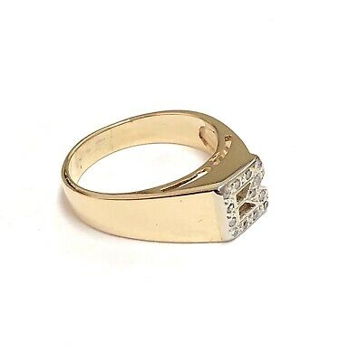 """14K Solid Yellow Gold .10 TCW Diamond """" B """" Initial Mens Ring Size 8"""
