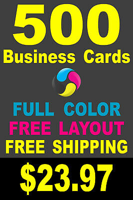 500 Full Color Gloss Custom Business Cards - FREE Shipping - Printed 1 Side