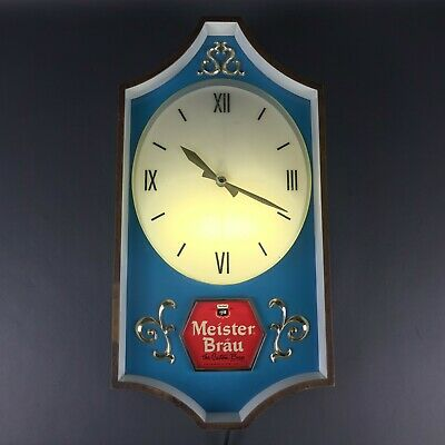 "Rare Meister Brau Clock Lighted Chicago Beer Sign Advertising Working 20"" x 10"""