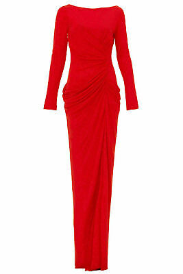 Badgley Mischka Red Women Dress Ruched Drape Front-Slit US 12 Gown $935- #916