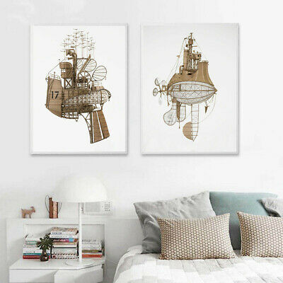 Futuristic Boat Canvas Print Poster Bedroom Corridor Decor Wall Home Hangings