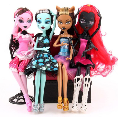 Monster High Doll Lot 4pcs Set Dolls Draculaura Lagoona Wolf Mattel Clothes Gift