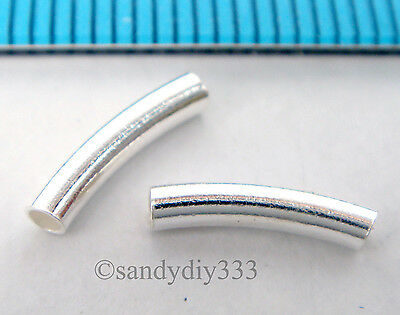10x BRIGHT STERLING SILVER CURVE TUBE SPACER BEADS 10mm 2mm w/ 1.4mm hole #1774