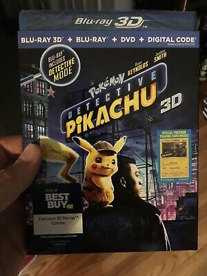 New! Detective Pikachu 2019 (3D + Blu-Ray + Dvd + Digital Code) 3-Disc Slipcover