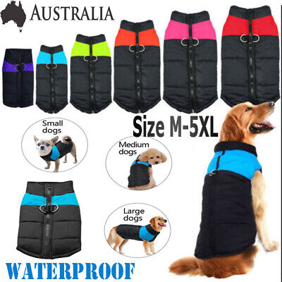Large Small Dog Jacket Padded Pet Clothes Warm Windbreaker Vest Coat Winter AU