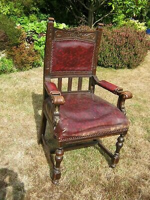 Carved Oak Open Armchair (Throne), Sprung Seat for recovering and re-polishing