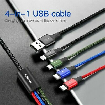 BASEUS 3/4 in 1 Fast Data Sync Charging Cable Cord For iPhone/Micro USB/Type-C