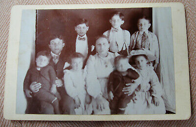 Antique Cabinet Photo Portrait Of A Mother Posing With Her 8 Beautiful Children