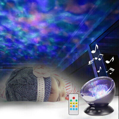 Relaxing Ocean Wave Music LED Night Light Projector Remote Lamp Baby Gift UK VHS