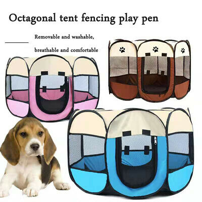 Pet Enclosure Dog Cat Puppy Play Pen Playpen Kennel Run Tent Portable Foldable